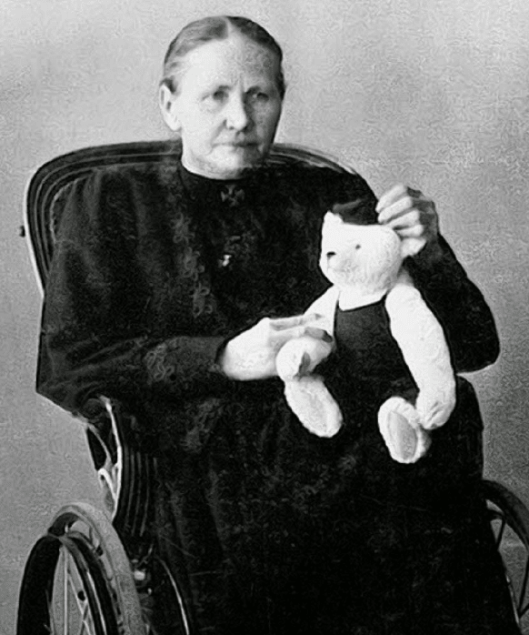 Seamstress Margarete Steiff, who sewed the world's first plush toy (an elephant pincushion), founded the Steiff company in 1880.