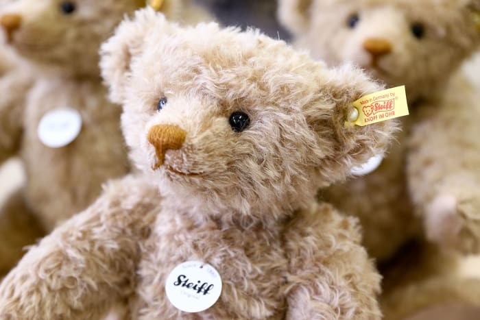 Teddy bears at the Steiff stuffed toy factory in Giengen an der Brenz, Germany. Steiff has been making stuffed teddy bears since the early 20th century.