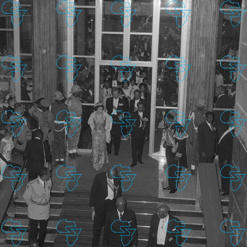 RARE Print: Haile Selassie I, Queen Elizabeth II & Prince Philip City Hall
