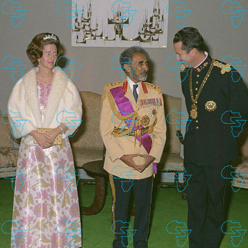 RARE Print: HIM Haile Selassie I with King Baudouin of Belgium and Queen Fabiola