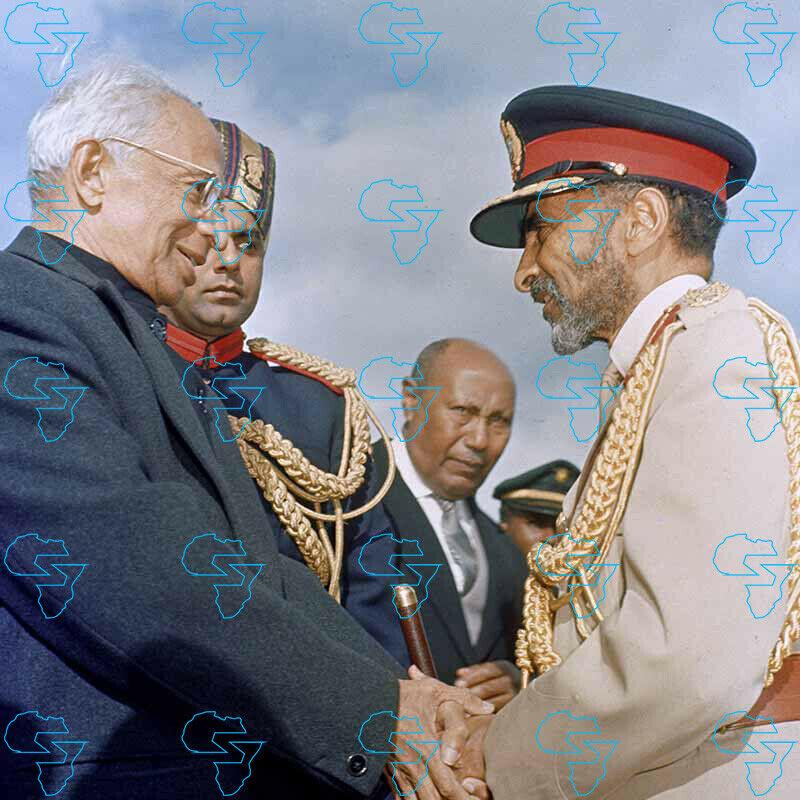 RARE Print: Haile Selassie I & His Excellency Dr Sarvepalli Radhakrishnan India