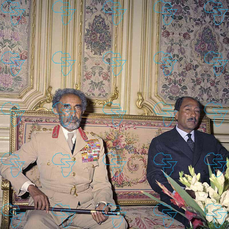 RARE Print: Emperor Haile Selassie I & President Muhammad Anwar al Sadat (Egypt)