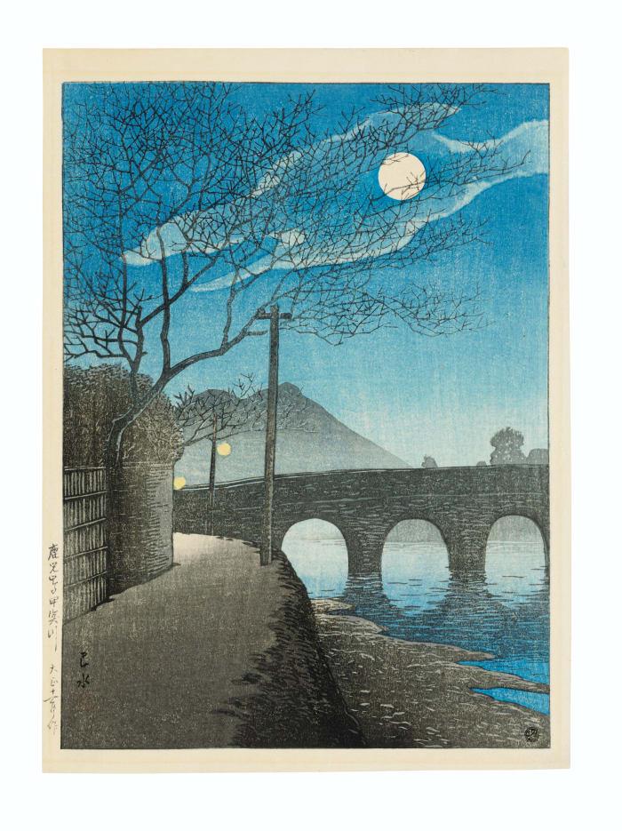 Shin hanga woodblock print by Kawase Hasui (1883-1957), Kagoshima Kotsukigawa (Kotsuki River in Kagoshima), from the series Nihon fukei senshu (Selected views of Japan), 1922; $6,250.