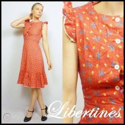 Boho 1970s vintage red floral cotton 360 0146d76bdd65c6365079c4b12a93df2d