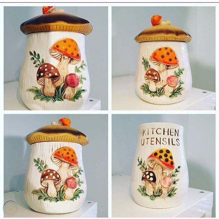 Vintage merry mushroom canister set 1 5c6c8f362d66ec67adcc4d7eab1a1f25