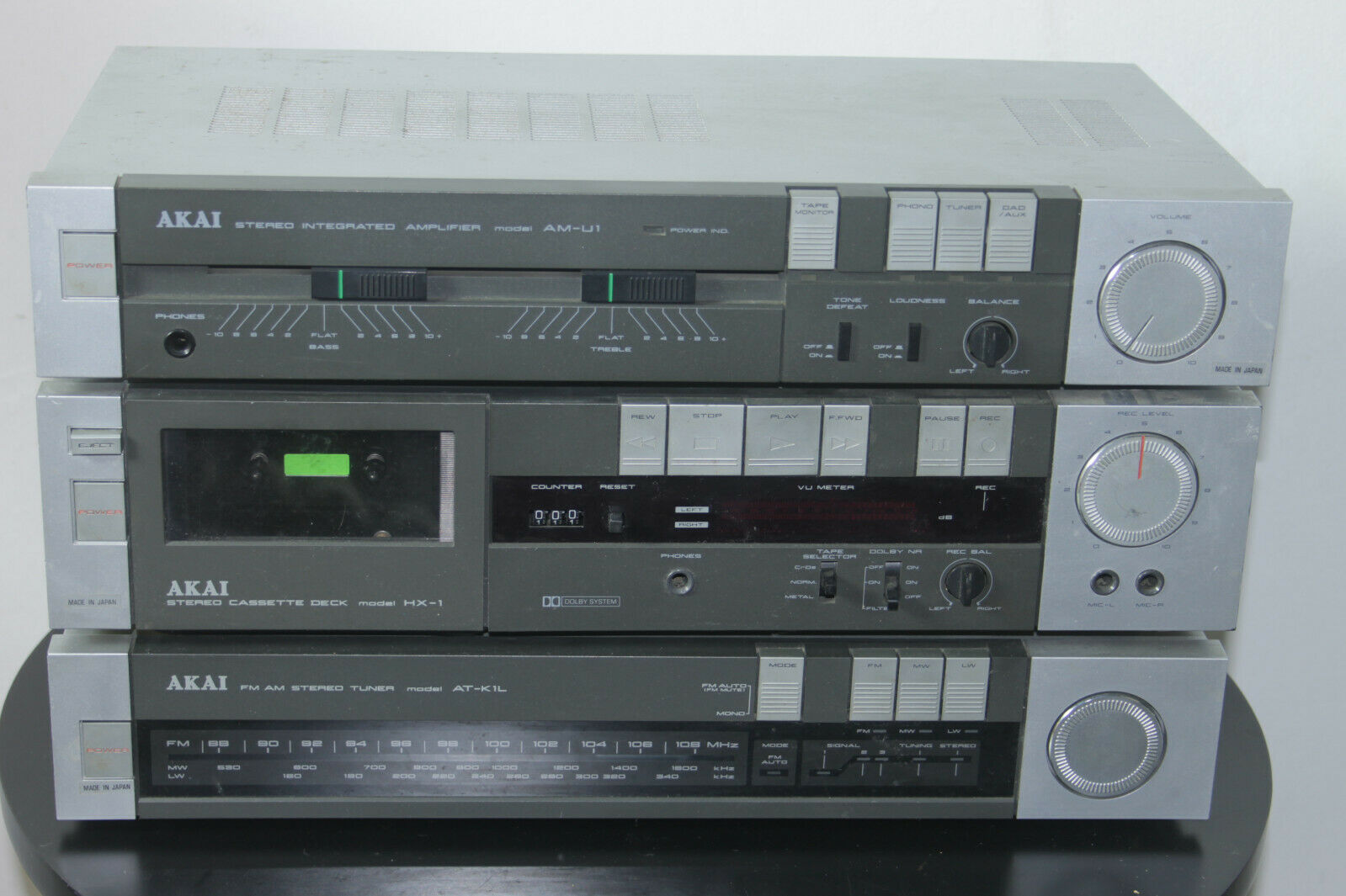 Rare Vintage Akai Stack System AM-U1, HX-1, AT-K1L and Aerial Tested and Working