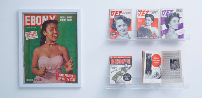 The Black beauty installation addresses at the start of the exhibition the lack of inclusivity of the 1950s era for Women of Color. This collection of magazines from the Makeup Museum's core collection showcase Black beauty muses in Black-owned magazines of the time.